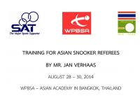 TRAINING FOR ASIAN SNOOKER REFEREES BY MR. JAN VERHAAS